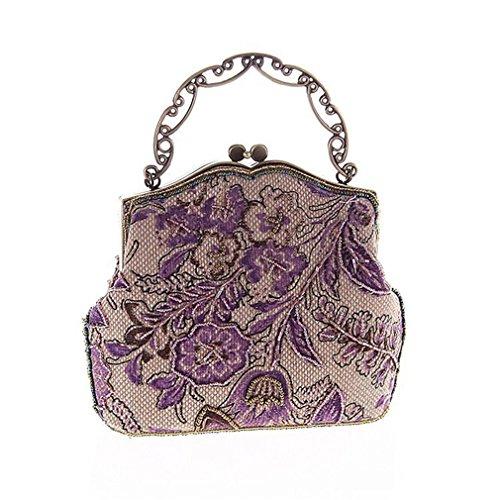 Evening Bags Party Vintage Linen Small Bag Handbag Women amp;OS Shoulder Purple Knitting Embroidered Flower ZJ UwxqfH17