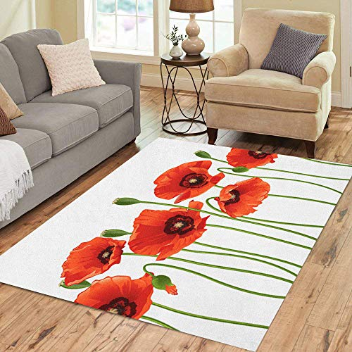 - Pinbeam Area Rug Green Poppy Red Poppies in Row Flower Spring Home Decor Floor Rug 5' x 7' Carpet