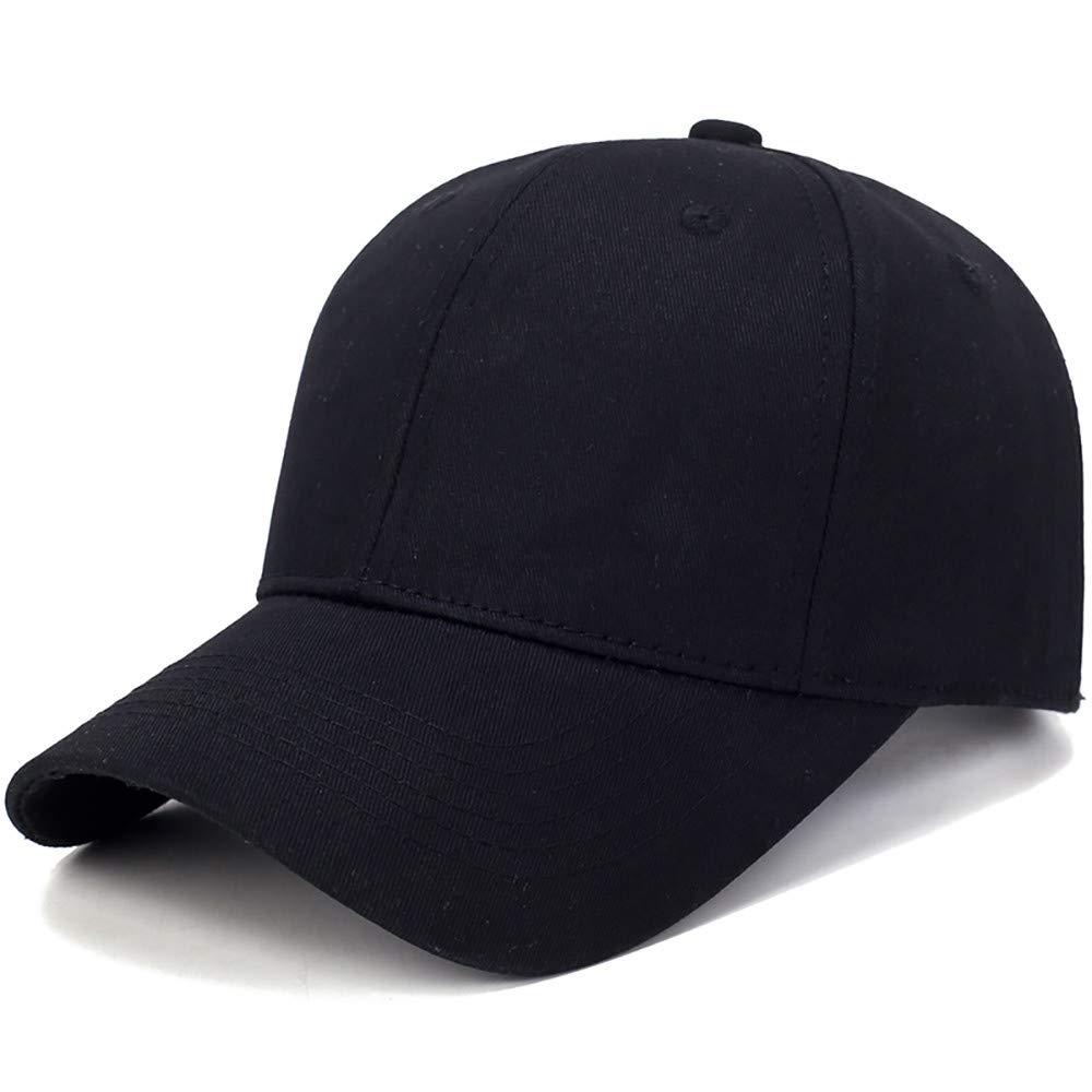 Toponly Solid Color Outdoor Sun Hat Cotton Adjustable Snapback Hats Men's Women's Hip-Hop Flat Bill Baseball Caps 56~60cm Black