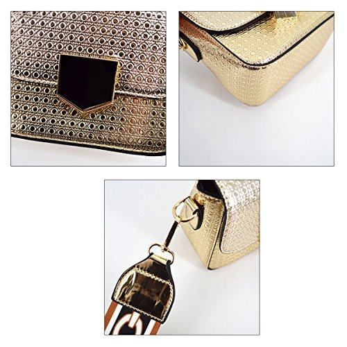 champagne Wide Wide Laser Bag Leather Handbag PU Message Strap bag Shoulder Champagne Square Small Women AiSi Crossbody B5pxwvqZnP
