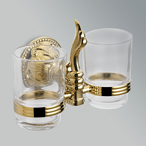 Lightinthebox Ti-PVD Finish Antique Style Solid Brass Wall Mount Double Cup Tumbler Holder, Toothbrush Holder