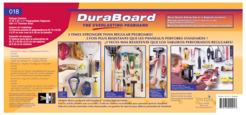 Triton Products 018-Kit DuraBoard 2)  22 Inch W x 18 Inch H x 1/8 Inch D White Polypropylene Pegboards with 22 pc. DuraHook Assortment and Wall Mounting Hardware by Triton 2 (Image #6)