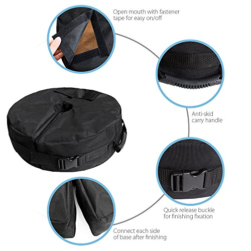 "18""Round Umbrella Base Weight Bag with Big Opening, VOLMON Detachable Umbrella Weights Sand Bags for Pole, Base for Patio Beach Offset Cantilever & Standard Outdoor Umbrellas, Easy to Fill and Install by VOLMON (Image #5)"