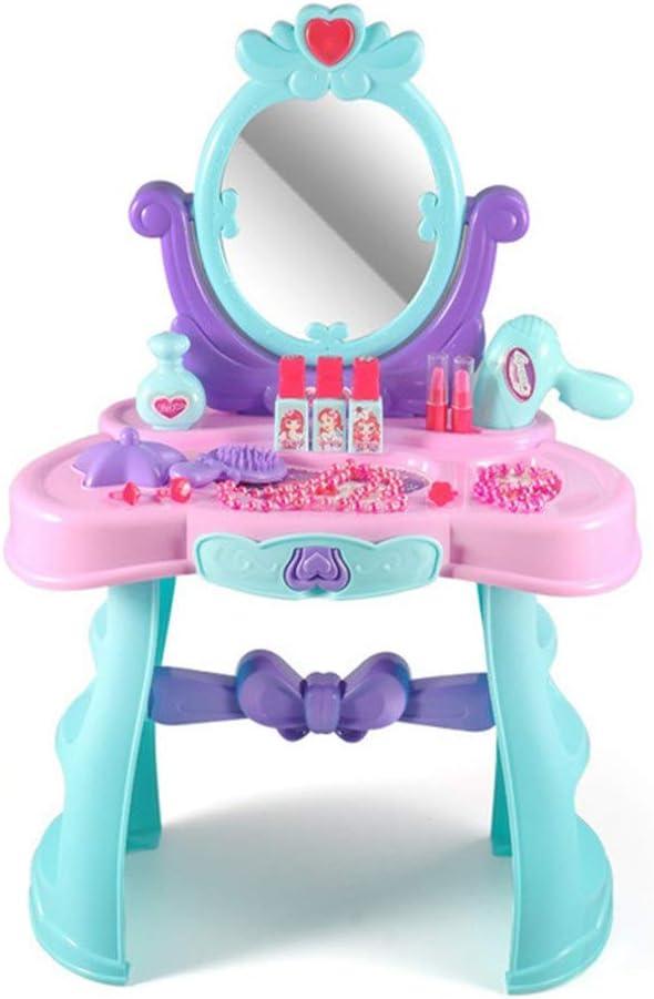子供用化粧台 女の子の化粧品のおもちゃの王女の化粧箱66x43x27cm ドレッサーグッズセット (色 : 青, Size : 66x43x27cm)