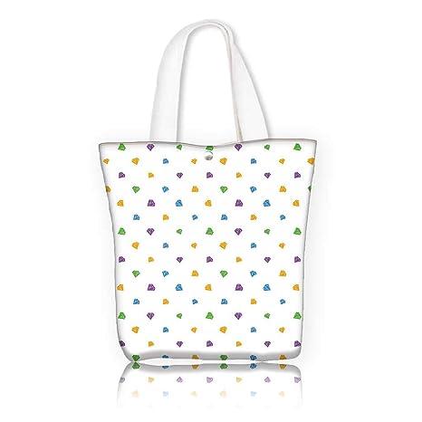 Women s Canvas Tote Bag —W14 x H15.7 x D4.7 INCH women Large Work tote Bag  Shoulder Travel Totes Beach Diamond Decor Tiny Little Diamond Motifs on a  Plain ... 2bc2229d4