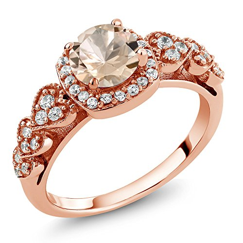 Rose Gold Plated Silver Women's Ring (0.92 Ctw Round Available in size 5, 6, 7, 8, 9) (Morganite Rose Ring)