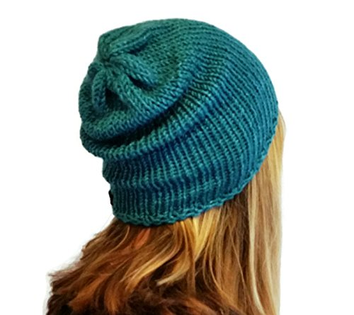 Image Unavailable. Image not available for. Colour  Womens Handmade  Turquoise Green Alpaca and Silk Slouchy Beanie Hat def1aaa3d1
