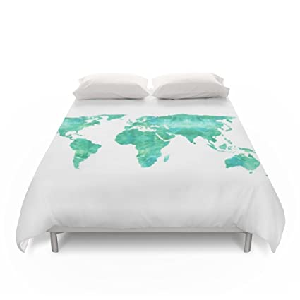 society6 watercolor world map duvet covers queen 88