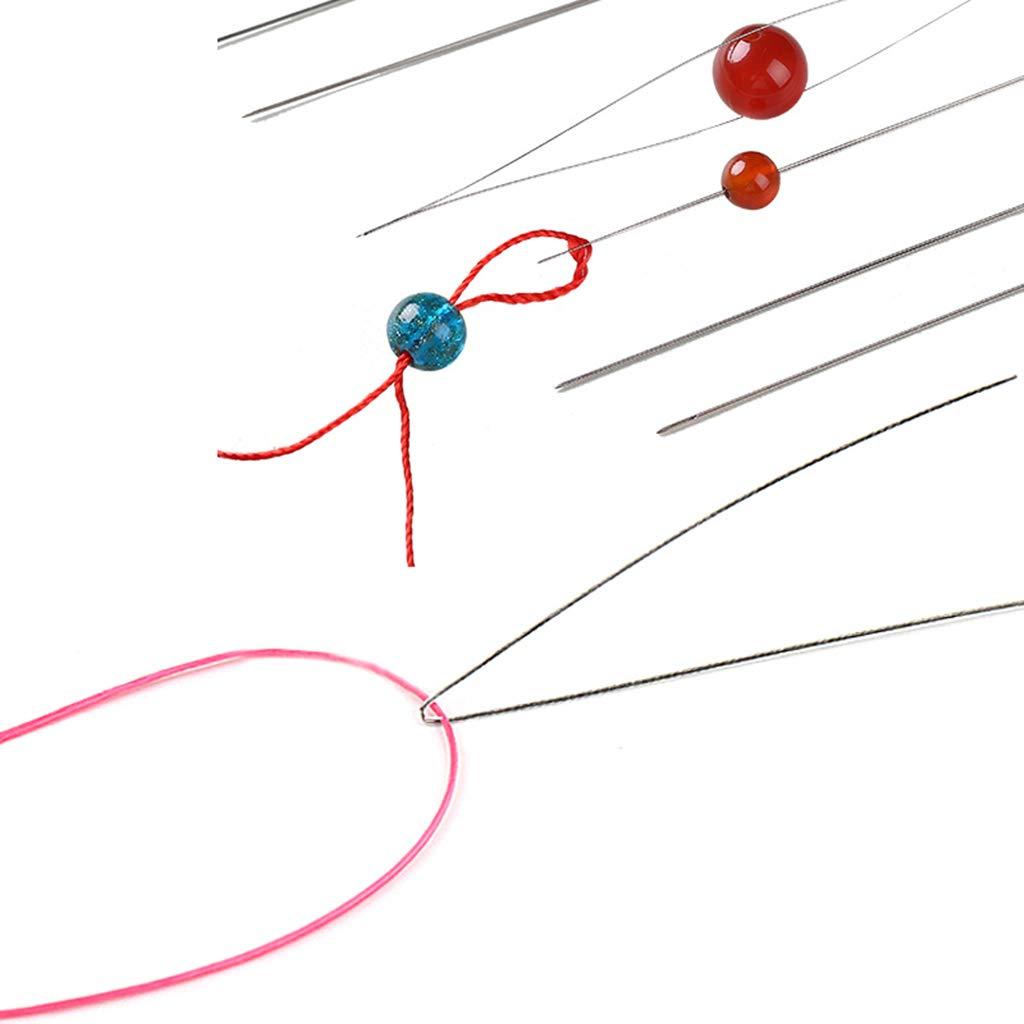 10er-Set Perlen F/ädelnadeln Perlen Nadeln Aufreihnadeln 10,2cm 5,8cm Hellery Perlenf/ädelnadeln