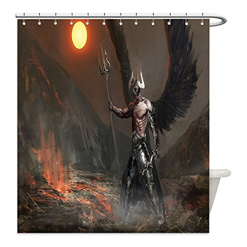 [Liguo88 Custom Waterproof Bathroom Shower Curtain Polyester Fantasy World Decor Knight with Wings Feathers Angel Devil Full Moon Fire Fantasy Night Illustration Brown and Yellow Decorative bathroom] (Make Moon Knight Costume)