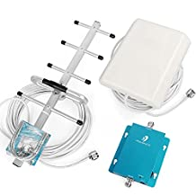 62dB 850MHz 3G W-CDMA GSM Cell Phone Signal Booster Repeater Amplifier Kit with Indoor Panel Antenna and Outdoor Yagi Antenna for Home/Office Use