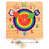 Real Wood Toys - Childrens Wooden Puzzle Clock Shape Sorter by Thisisitstores