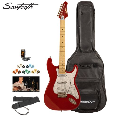 Pearl Red Guitar - Sawtooth ST-ES-CARP-KIT-2 Candy Apple Red Electric Guitar with Pearl White Pickguard - Includes Accessories, Gig Bag and Online Lesson