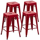 Duhome 4 pcs 24″ Metal Chairs Tolix Style Stackable Dining Stools Indoor Outdoor Restaurant Cafe Industrial Design (Red) Review