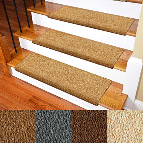 "Carpet Stair Treads - Non-Slip Bullnose Carpet for Stairs - Indoor Stair Pads - Self-Adhesive & Easy Installation - Pet & Child Friendly - Skid Resistant & Washable - 14- Pack Brown 10"" x 30""x 1.3"""