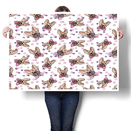 J Chief Sky Dog Wall Decoration Watercolor Portraits of Domestic Pet Animals with Bowties and Dots Digitally Printed Pale Pink Violet Pale Brown 28