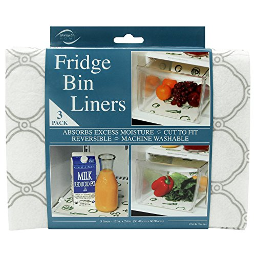 Envision Home Fridge Bin and Shelf Liners, Gray Trellis, 3 Piece