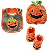 Carter's Halloween Baby Costumes-Pumpkin Booties - Terry Bib & Beanie 0 -3 Mths