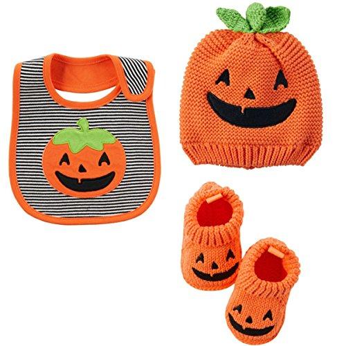 Carter's Halloween Baby Costumes-Pumpkin Booties,Terry Bib & Beanie 0 -3 Mths