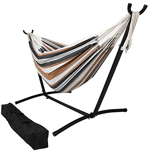 Sunnydaze Brazilian Double Hammock with Stand, 2 Person, Portable Hammock Bed for Indoor or Outdoor Use, with Carrying Pouch, Max Weight: 400 Pounds, Calming Desert (Hammocks Alone Stand)