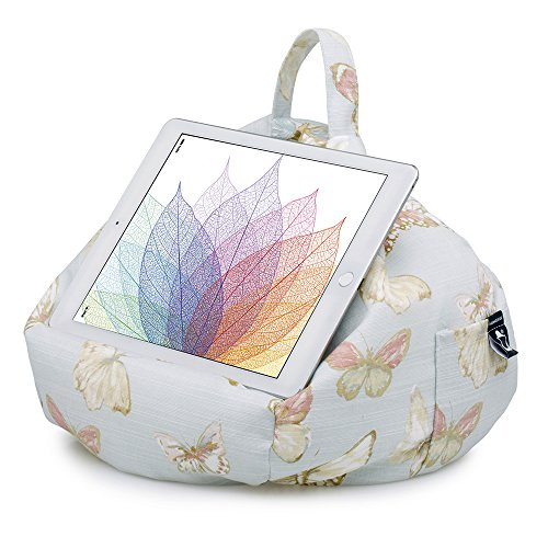 iPad Pillow & Tablet Stand - Securely Holds Any Size Tablet, eReader or Book Upto 12.9 inches, Hands Free Comfort at Any Angle on Any Surface - Butterfly Blue, by iBeani