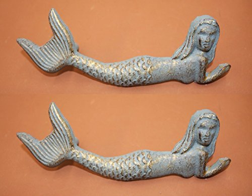 Antique-look Mermaid Drawer Pulls Cast Iron Bronze-look 7 inches long, HW-54, 2 pieces - Mermaid Drawer
