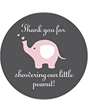Pink Grey Elephant Thank You Stickers, Girl's Baby Shower Party Favor Labels, 2 Inch Thank You for Showering Our Little Peanut, 40-Pack