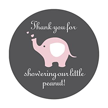 40 cnt Pink Elephant Thank You Stickers Little Peanut Baby Shower Favor Stickers.