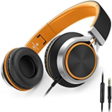 AILIHEN C8 Folding Headphones with Microphone and Volume Control for Cellphones Tablets Android Smartphones Laptop Computer Mp3/4 (Black/Orange)