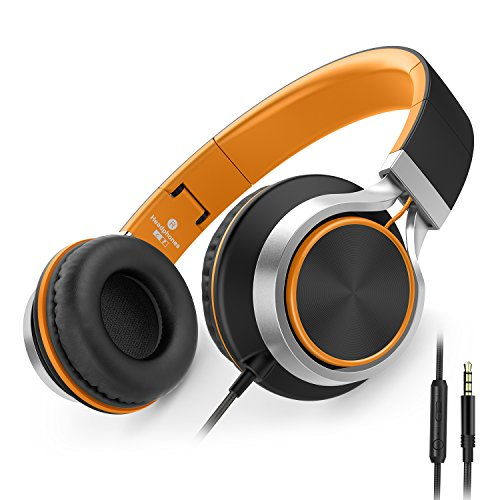 AILIHEN C8 Folding Headphones with Microphone and Volume Control for Cellphones Tablets Android Smartphones Laptop Computer Mp3/4 (Black/Orange) -