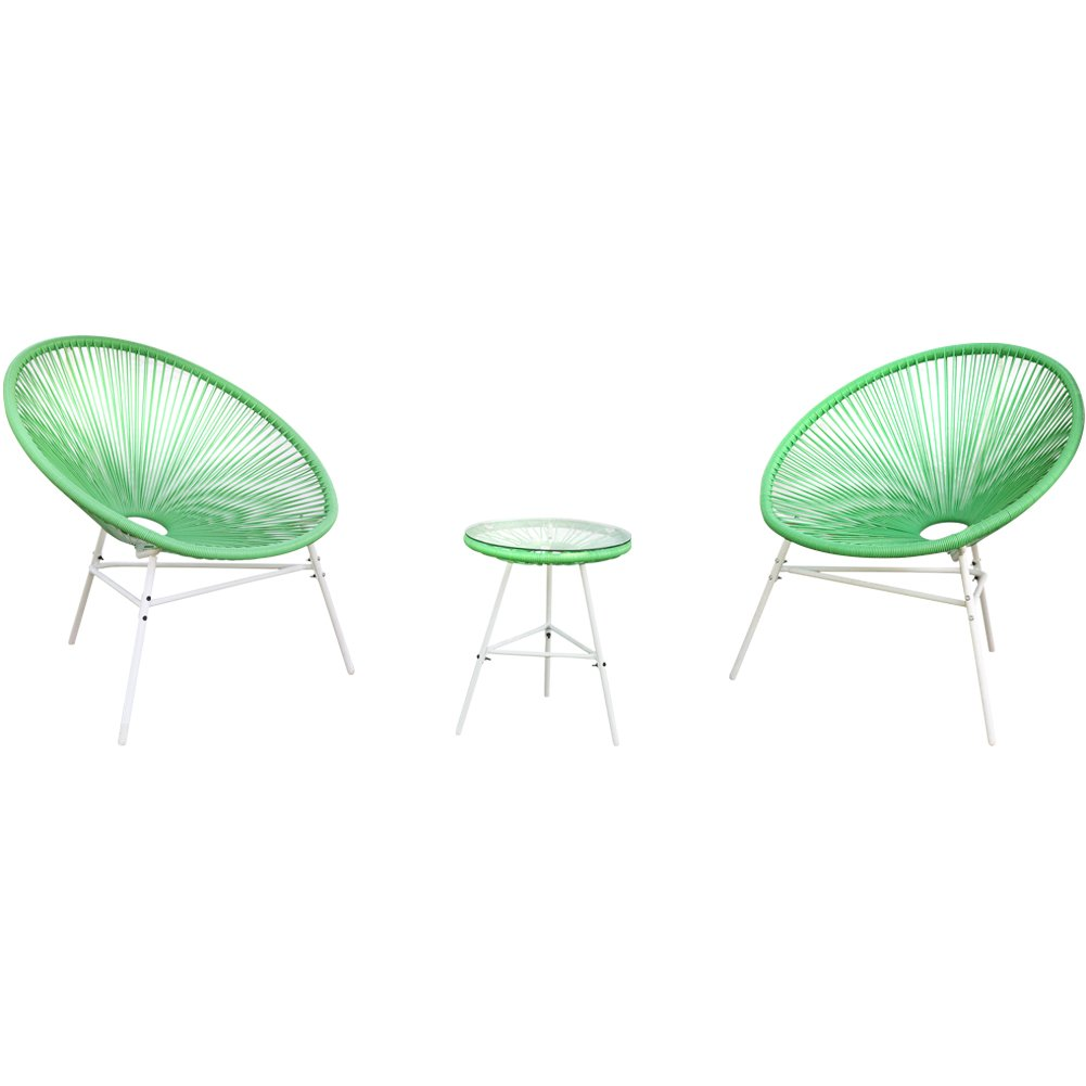 PatioPost 3 Piece Outdoor Acapulco Sun Weave Lounge Patio Chair with Top Glass Table, Green