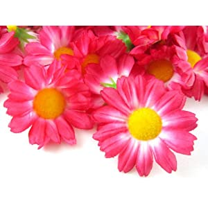 "(24) Silk Hot Pink Gerbera Daisy Flower Heads , Gerber Daisies - 1.75"" - Artificial Flowers Heads Fabric Floral Supplies Wholesale Lot for Wedding Flowers Accessories Make Bridal Hair Clips Headbands Dress 1"
