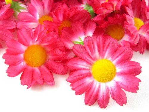 24-Silk-Hot-Pink-Gerbera-Daisy-Flower-Heads-Gerber-Daisies-175-Artificial-Flowers-Heads-Fabric-Floral-Supplies-Wholesale-Lot-for-Wedding-Flowers-Accessories-Make-Bridal-Hair-Clips-Headbands-Dress