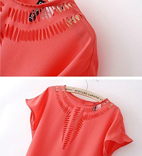 LOBZON - Camisas - Básico - Cuello redondo - para mujer Rosso