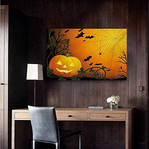 duommhome Spider Web Living Room Decorative Painting Halloween Themed Composition with Pumpkin Leaves Trees Web and Bats Modern Minimalist Atmosphere 24