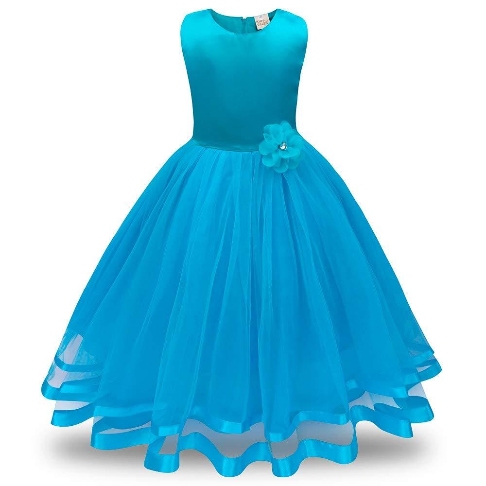 MOIKA Mädchen Prinzessin Kleid für 3-8 Jahre, Formale ärmellose Blume Brautjungfer Festzug Prinzessin Kleinkind Baby Mädchen Tutu Tüll Kleid knöchellangen Urlaub Party Brautkleid Outfits