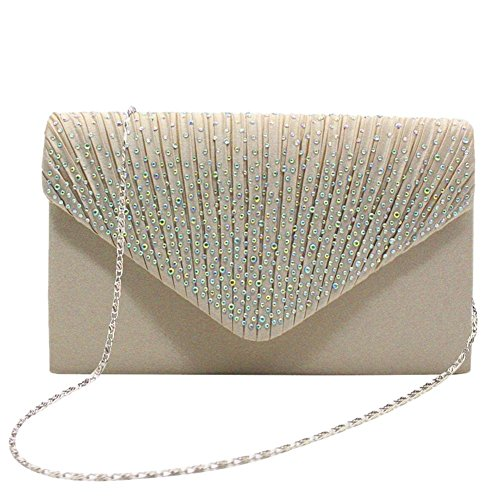 Party Women's Decorated Chain Apricot Rhinestone Evening Bag with for Detachable Envelope Bag Wedding Clutch Satin iShine S1FHqH6