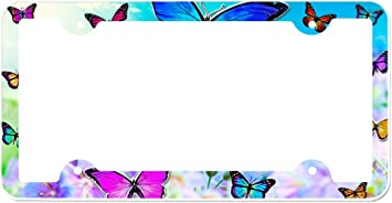 Graphics and More Purple Butterfly Watercolor Silhouette License Plate Tag Frame