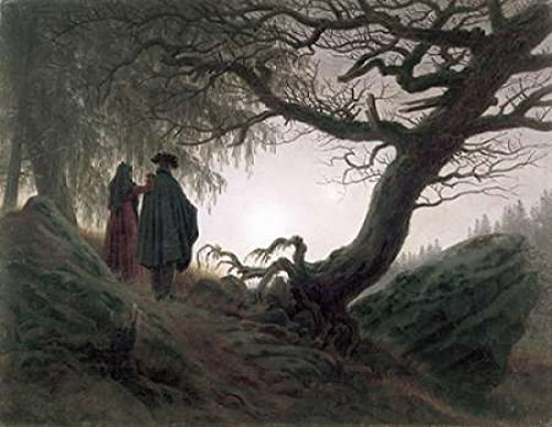 Posterazzi Man and Woman Contemplating The Moon Poster Print by Caspar David Friedrich, (22 x 28)