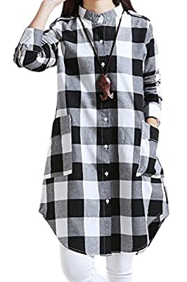 Women Casual Long Sleeve Plaid Button Down Midi Cotton Linen Blouse Dress Long Shirt Plus Size