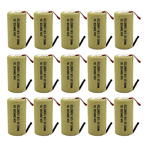 GEILIENERGY Sub C 2200mAh NiCd Rechargeable Battery for Power Tools with 10C Discharge Rate (w/Tabs)(Pack of 15) (Best Rechargeable Batteries For Power Tools)