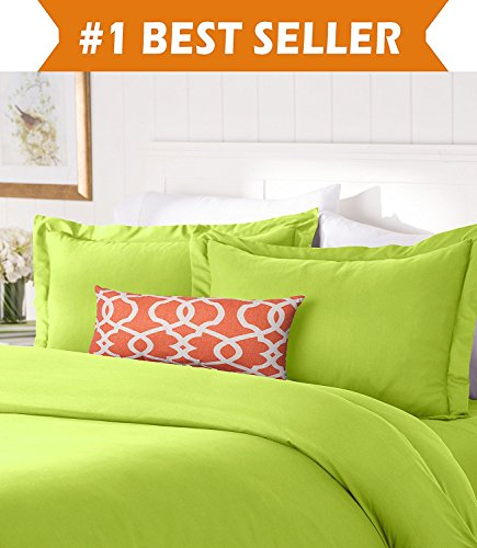 Elegant Comfort #1 Best Bedding Duvet Cover Set! 1500 Thread Count Egyptian Quality Luxurious Silky-Soft Wrinkle Free 2-Piece Duvet Cover Set, Twin/Twin XL, Lime ()