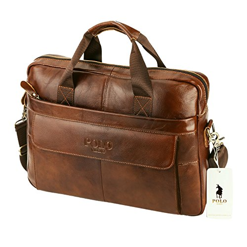 VIDNEG POLO Handmade Briefcase Top Grain Leather Laptop Bag Messenger Shoulder Bag for Business Office 15 inch Macbook … (MP-Red Brown) (Cowhide Top Grain Briefcase)
