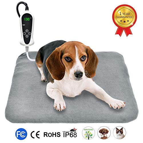 RIOGOO Pet Heating Pad, Upgraded Electric Dog Cat Heating Pad Indoor Waterproof, Auto Power Off 18