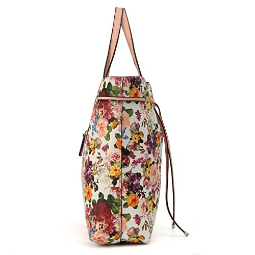 handle For Floral Handbag Purse Top Kadell Shoulder Pattern Black Ladies Bags Women Tote White Bag UFHxIqY