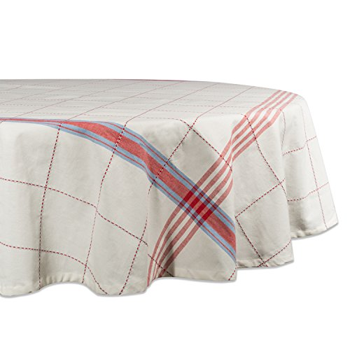 "Cooperville Plaid Tablecloth, 100% Cotton with 1/2"" Hem (70"" Round - Seats 4 to 6)"