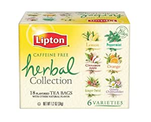 Lipton Herbal Tea Collection, Variety Pack of Six Flavors, Tea Bags, 18-Count Boxes (pack of 6)