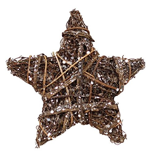 Cheap  8'' Rattan Wrapped Rustic Star with Silver Glitter