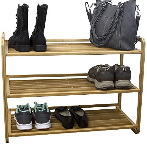 Home Basics 3 Tier Bamboo Rack Tower Shelf Organizer | Free Home Storage | Durable Heavy-Duty Shelves Stand Fits 9 Pairs Entryway and Shoe Closet, Light Brown (Home Basics Over The Door Shoe Rack)