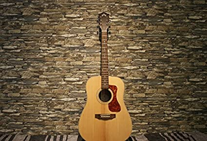 Yeele Guitar Photo Backdrop 5x3ft Rock Classical Style Nostalgia Shabby Chic Stone Brown Brick Wall Adult